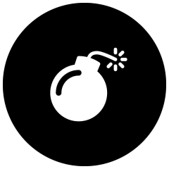 Pictogramme d'une bombe allumée